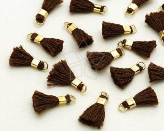 TA-043-GD / 6 pcs - Tiny Mini Tassel Pendant (Dark Beige Brown), Handmade Small Cotton Tassels, with Gold Plated Brass Ring / 12mm