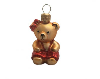 Mini girl bear :) mouth blown Christmas ornament. Hand painted.