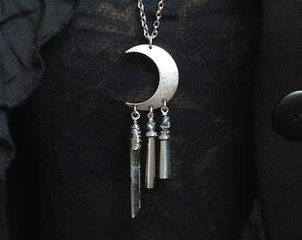 crescent necklace half moon celestial jewelry gypsy festival jewelry
