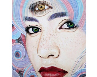 See With Your Soul - Mixed Media Art - ART PRINT - 8 x 10 - By Toronto Portrait Artist Malinda Prudhomme