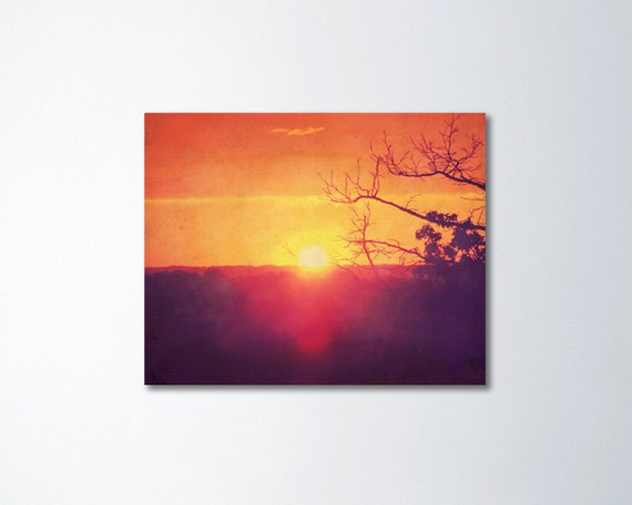 Orange Wall Art Canvas Rustic Home Decor Sunset