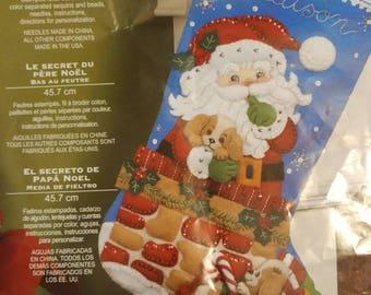 Finished Bucilla Santa's Secret Stocking