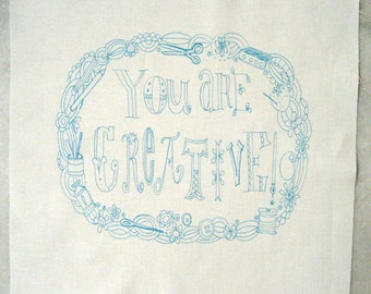embroidery stitch pattern on fabric You Are Creative, dark teal