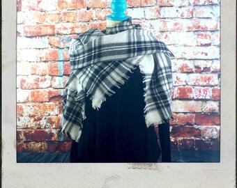 Black And White Plaid Blanket Scarf - Monogram Blanket Scarf