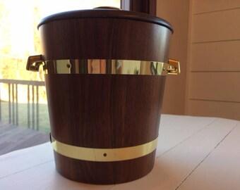 Mid Century Modern Walnut Ice Bucket
