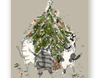 Christmas Cat Card - Tree Dance - Funny Christmas Card Cat
