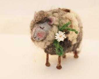 Grey Sheep  Needle Felted Gray Sheep # 3385