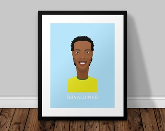 Ronaldinho Brazil Illustrated Poster Print | A6 A5 A4 A3