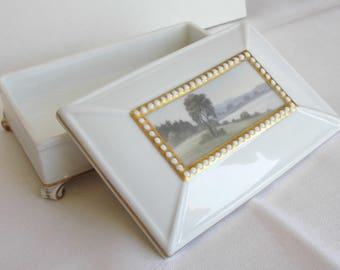 Rosenthal Porcelain lidded Box with Landscape Decoration within a Golden Frame