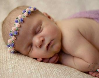 Newborn floral  headband - princess headband - vintage headband - birthday girl headband - baby headband - baby shower gift - fairy headband