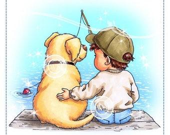 Whimsy Stamps --  Fishin' Friends -- NEW -- (#2348)