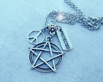 Pentacle Protection Necklace, Peace Sign, Protected Charm, Wiccan Gift, Pagan Gift, Protection Gift, Birthday, Pentagram, Golden Ratio