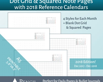 2018 A5 Printable Insert - Dot Grid & Squared Note Paper with Mini Monthly Calendars