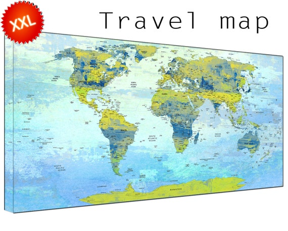 Push Pin Travel Map canvas wall art art print large  Push Pin Travel Map with countries home Office Decor print on canvas wall art