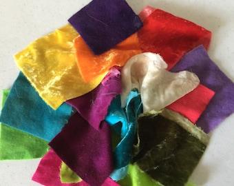 Silk Velvet and Wool Felt Scraps, Hand Dyed wool and silk scrap bag!!!!