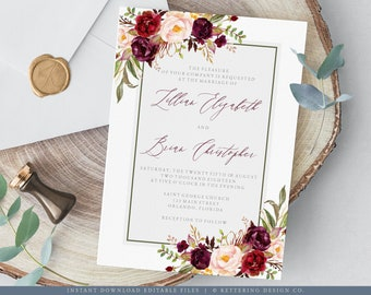 Wedding Invitation Template, Burgundy and Blush Floral Wedding Invitation Printable, Wedding Invite Instant Download Editable PDF - 102WE