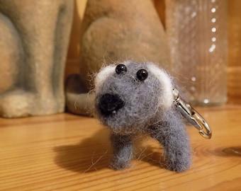 Gray dog keychain