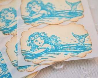 Mermaid Stickers Envelope Seals Set of 10