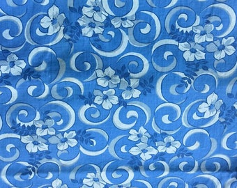 Gray and White Flowers on Blue Background Vintage Cotton Fabric 2 7/8 Yards  X0902 Quilting, Apparel, Clothing
