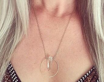 Unique Crystal Quartz Necklace. Gold Geometric Necklace. Minimalist Crystal Necklace. Simple Bohemian Necklace. Boho Crystal Necklace.