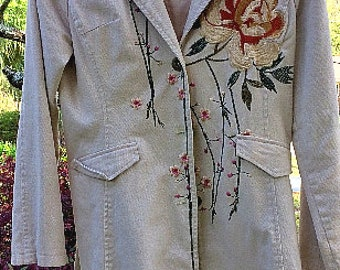 Vintage WE Fashion Embroidered Long Cotton Coat/Duster, SZ Small