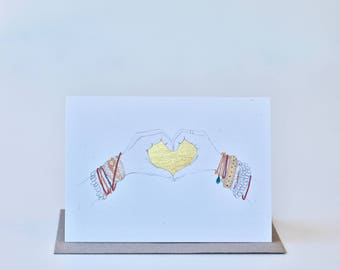 heart and hands (gold stamped)