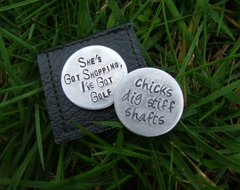 MyBella Custom Golf Ball Markers Set of Two Aluminum and/or Copper  with Golf Ball Marker Holder