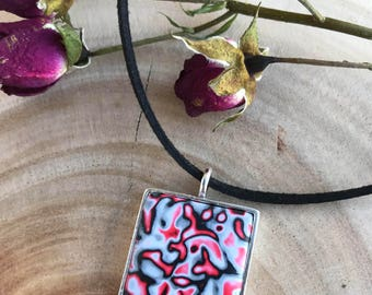 Polymer Clay Pendant // Modern Necklace // Silver Plated // Fashion Necklace / Handmade Jewelry / Black Cord / Gift for Her / Gift for Wife