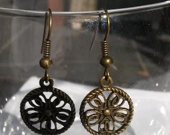 Brass flower earrings, brass earrings, flower earrings