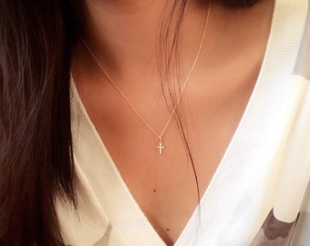 14k gold Cross necklace / cross pendant necklace / religious necklace