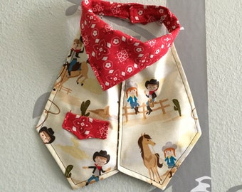 "Bib for a baby or toddler boy, Riley Blake fabric, ""Sassparilla"",  OOAK, dress up bib, cowboy, ready to ship!"