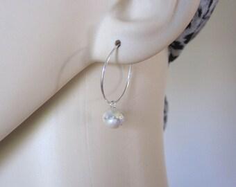 925 Sterling Silver 3D jingle bell ball charm hoop earrings, jingle bell earrings