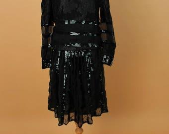 Vintage Mesh Sequined Dress