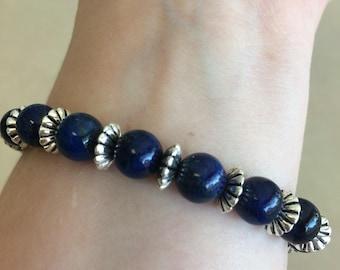 Blue Lapis Silver Bracelet, lapis bracelet, silver and blue bracelet, dark blue silver bracelet, dark blue lapis bracelet, silver jewelry