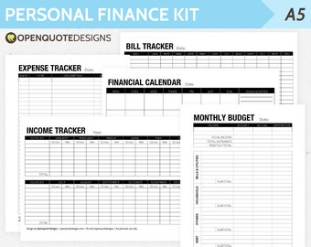 A5 Filofax Finance Printable, Personal Finance Kit, Monthly Budget Planner, Household Budget Organizer, Finance Template