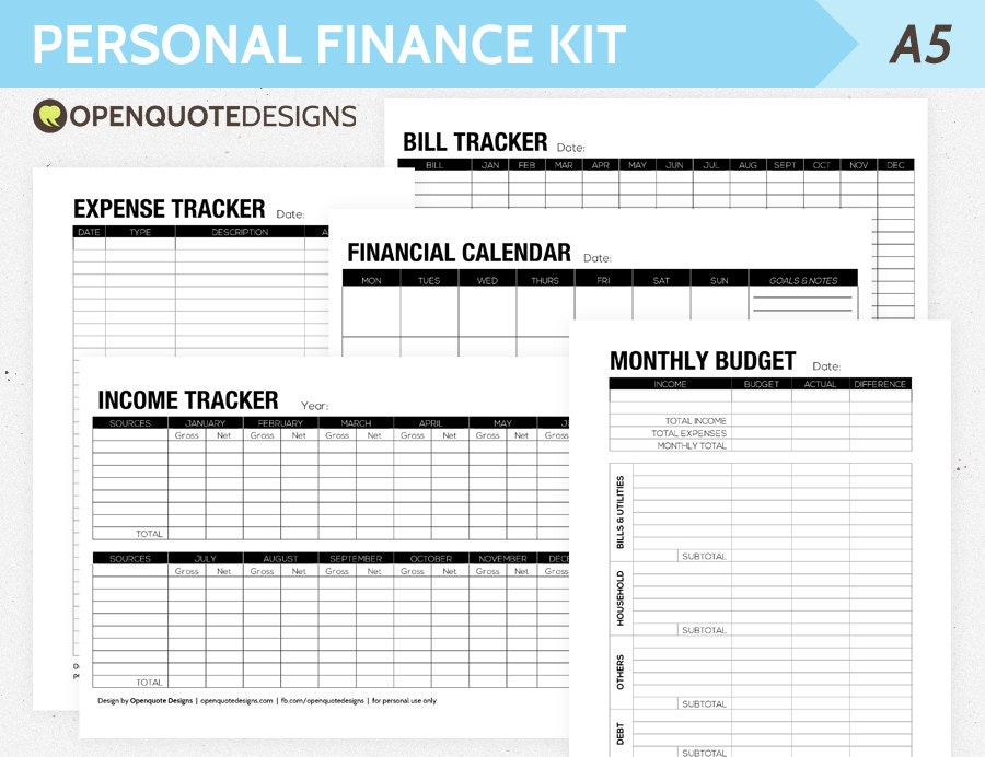 A5 filofax finance printable personal finance kit monthly for Personnel budget template