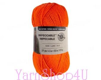 ORANGE CRUSH Impeccable Brights Yarn, Loops & Threads, Orange yarn, Bright Orange Impeccable Yarn, knitting yarn, Orange acrylic yarn <