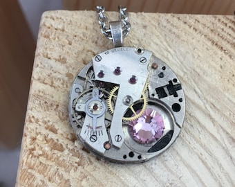 silver necklace, silver watch movement, pink stone, silver chain, steampunk necklace, steampunk jewelry