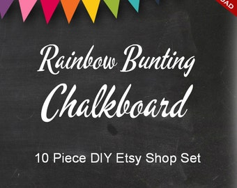 Premade Etsy Banner and Avatar Design Set - 10 Piece Chalkboard DIY Template Customizable Shop Set - Blackboard Rainbow Bunting Banner