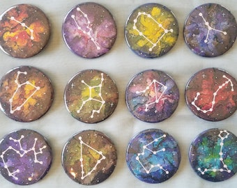 """Zodiac Sign Constellation 2-1/4"""" Buttons"""