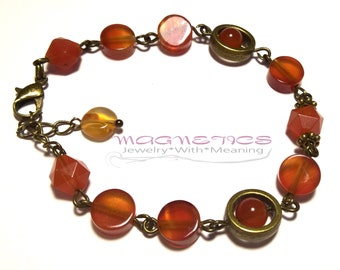 Bronze bracelet made of natural carnelian, natural carnelian, bracelet-amulet, amulet for love, amulet of carnelian to attract money