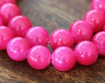 Mountain Jade Beads, Hot Pink, 8mm Round - 15 Inch Strand - eMJR-P21-8