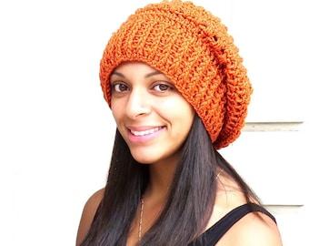 Crochet Slouchy Hat, Oversized Slouchy, Tam Hat , Adult, Crochet Hat, Color is Orange,