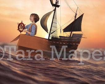 Cardboard Pirate Ship Digital Background