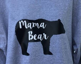 Mama Bear Long Sleeve T-Shirt, Mama Bear Shirt, Mama Bear Gray Shirt, Ladies Mama Bear T-shirt, Women's Mama Bear Shirt, Mama Bear Tee