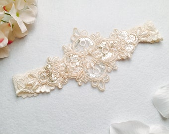 Wedding Garter , bridal garter, wedding lace garter,champagne Lace Garter, keepsake Garter only