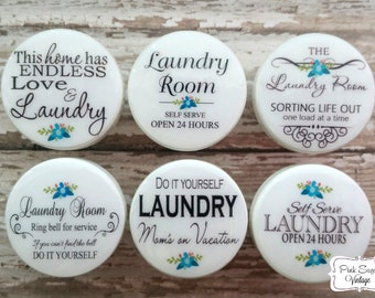 Beau LAUNDRY ROOM KNOBS Drawer Pulls #11 Vintage Look Paris France Shabby Chic  Retro Cottage Distressed French Provincial Farmhouse
