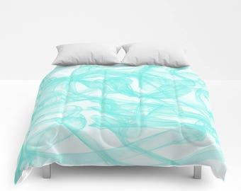 Duvet Cover or Comforter - Twin, Twin XL, Full, Queen, King Size, Bedroom, Mint, Turquoise, Shams, Green, Abstract, Gift, Modern, White