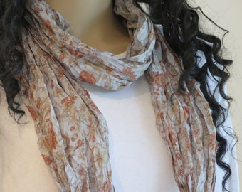 Silk Infinity Scarf, Silk Scarf, Flower Scarf, Neck scarf