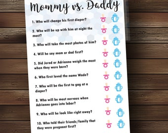 Mommy vs. Daddy Baby Shower Quiz - Baby Boy
